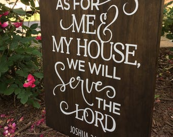 As For Me and My House, Bible Verse, Wood Sign, Home Decor