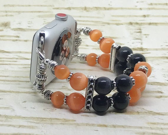 Apple Watch Band, Women Bead Bracelet Watch Band, iWatch, Apple Watch 38mm, Apple Watch 42mm, Halloween Orange/Black Cats Eye Size 6 3/4 - 7