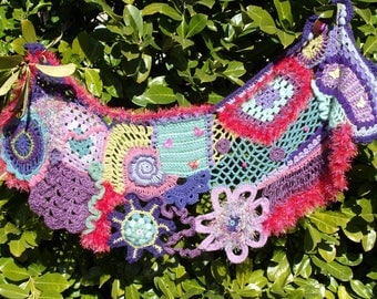 "Shawl original crochet freeform ""Butterflies"""