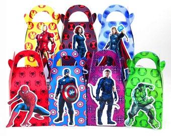 Avengers favor bag, Avengers favor box, Avengers treat box, Avengers Goody box, Avengers party favor box, Avengers gift box