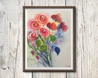 Original watercolor watercolor painting image art roses bouquet Watercolor Flowers