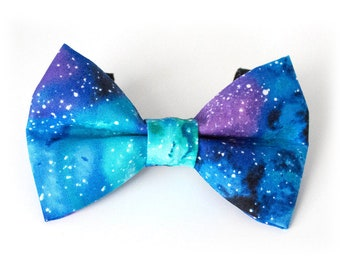 GALAXY Dog or Cat Bow Tie, easy-on velcro fastenings, purple blue black aqua green