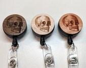 Human Skull Badge Reel/Anatomical Skull/Skeleton/Laser Cut Wood/Retractable ID Badge/Medical Gift/Gift for Nurses/Gift for Doctors