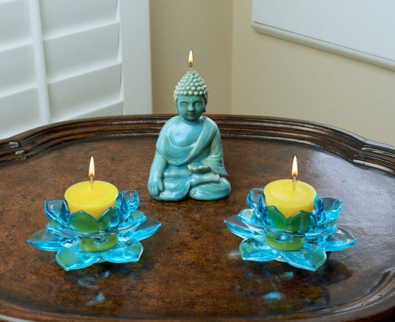 Witness Buddha Candle and Blue Glass Lotus Flower Candle Holder Meditation Set