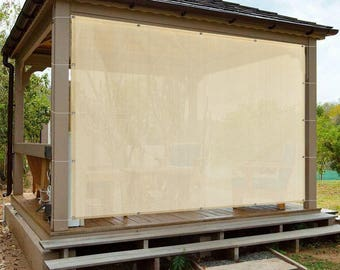 Custom Sized Sun Shade Privacy Panel with Grommets on 4 Sides for Patio, Awning, Window Cover, Canopy, Pergola or Gazebo - Banha Beige