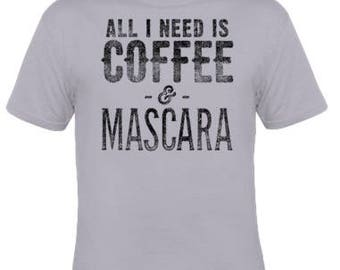 Coffee & Mascara Tee (Gray) Unisex Shirt / Etsy Best Seller Shirt Coffee Mascara Moon Child FREE SHIPPING (US)