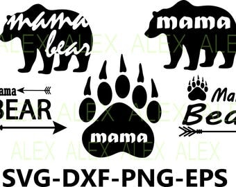 70% OFF, Bear SVG, Bear Silhouette png, eps, svg, dxf, Bear Clipart, Animals Silhouettes, Mama Bear Svg,  Bear Paw Svg, Mother Mom Cute