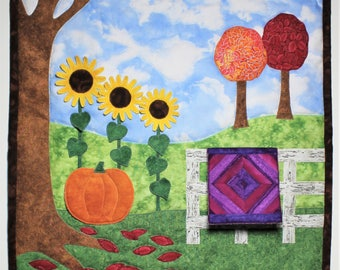 Fall wall quilt pattern with 3D applique option for miniature quilt, pumpkin, and sunflowers
