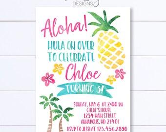 Aloha Invitation, Luau Birthday Invitation, Pineannaple Invitation, Aloha Birthday Invitation, Summer Birthday Invitation, Hawaiian Birthday