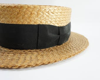 Pedigree Hats, Vintage 1930's Summer Fedora Straw Boater Hat, Natural Woven Hat w/ Black Ribbon, Made in New York, RESERVED Daven