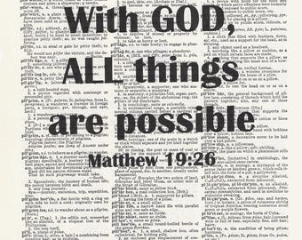 With God all things possible, Bible Quote, Inspirational, Christian Print, Christian Home Decor, Scripture Verse, Christian Art