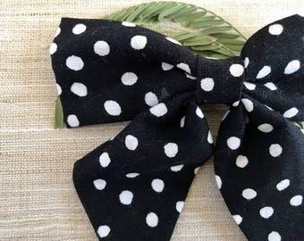 Black And White Hair Bows - Polka Dot Hair Bows - Girls Hair Bows - Sailor Bow - Baby Headband Bows - Toddler Girl - Baby Hair Bows - Bows