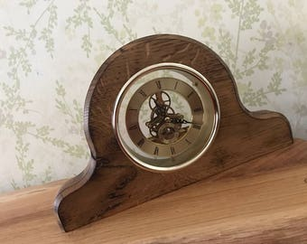 Solid oak rustic mantel clock