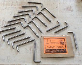 20 Screw Hooks, Vintage Hooks, Vintage Hardware, Restoration Hardware, Salvaged Hardware, Industrial, Steampunk, Assemblage Supply