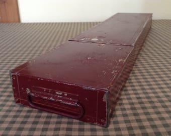 Vintage Metal Box, Old Safe Deposit Box, Red Bank Safety Deposit Box, Storage Box Bin Drawer, Shabby Chippy Box, Industrial Decor