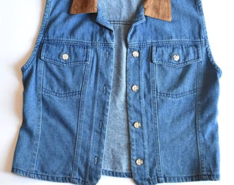 Vintage Stonebridge Denim Vest Suede Collar Size Medium