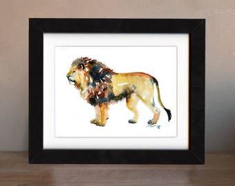 lion artwork, lion art print, lion gift idea, lion art, lion decor, lion wall art, lion nursery, wildlife art, art print, saltwatercolors