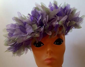 SUMMER SALE Joseph Magnin Lavender and Lilac Tulle Hat with Large Rosette