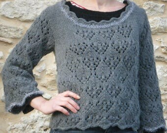 knitted sweater 40/42 gray openwork wool alpaca