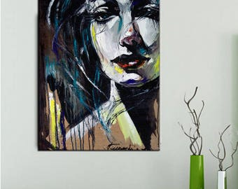 Original oil painting  portrait  illusion  tender picture for the hall for the living room  a gift for him a gift for her wall painting