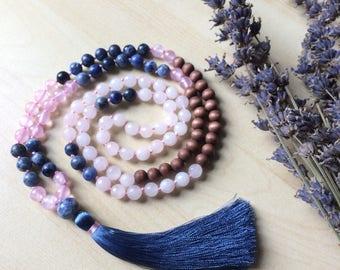 Tenalach Mala Necklace // Handknotted 108 Mala Beads // Yoga Mala // sodalite, rose quartz, wood beads.