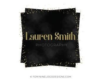 Black gold logo, Modern logo design, Square logo, Photography logo, Boutique logo, Blogger logo, Premade logo, Gold logo custom, Black logo