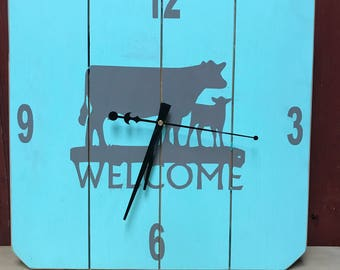 Square Turquoise Farmhouse Wall Decor Cow Wall Clock