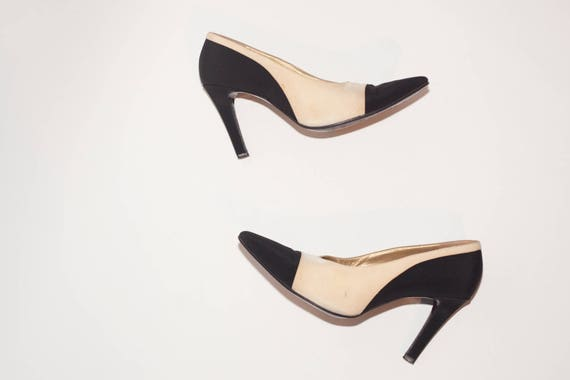 ysl yves laurent vintage shoes black and white