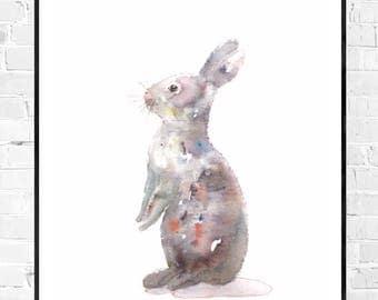 Original watercolor of a cute bunny-bunny painting-Art for Kids-Original water color-original art gift-nursery art-Original art work