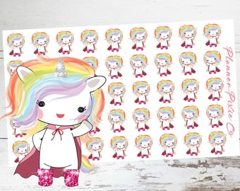 Suki the Unicorn // Planner Stickers // Unicorn Planner Stickers // Super Hero // Dress Up