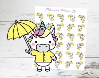 Unicorn Planner Stickers // Rainy Day // Umbrella
