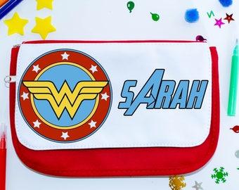 Wonder Woman personalised school pencil case - desk storage, pens, school gift, academic gift, organiser, zipper pouch, storage, super hero