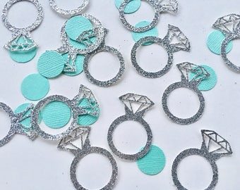 Engagement Ring Confetti - Tiffany Blue - Engaged - Ring - Wearable Engagement Ring - silver - gold - Weddings - Engagement - Glitter