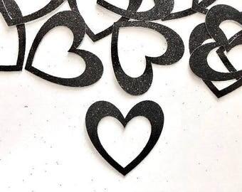 Heart Confetti - Heart Scatters - Hollow Heart Confetti - Heart Table Scatters -  Black Heart - Glitter Heart - Wedding Confetti