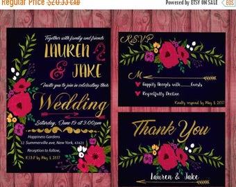 ON SALE Navy Blue Floral Wedding Invitation, Elegant Wedding Invite, Printable Wedding Invitations Suite, Floral Wedding Set, Elegant Weddin