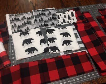 Lumberjack Fabric, Scraps, Bear, Wood, Trees, Plaid, Specialty Fabric, Quilting Cotton, Craft Supplies & Tools, Sewing Supplies.