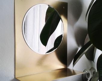 Brass wall shelf mirror bathroom brass wall with mirror bathroom