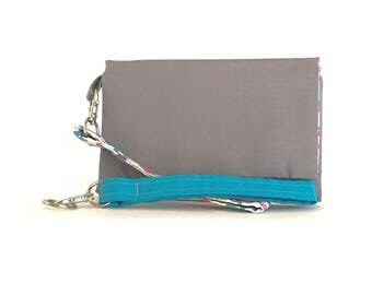 Closeout - Gray Pink and Turquoise Owls Cell Phone Wallet and Wristlet