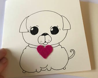 Pug dog card // Pug Mother's Day card // Pug anniversary card // Pug birthday card // Pug love card // Pug kawaii