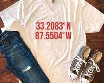 Alabama/Auburn Coordinates Shirt , game day shirt , roll tide tee , war eagle tee , game day tee , stadium coordinates tee