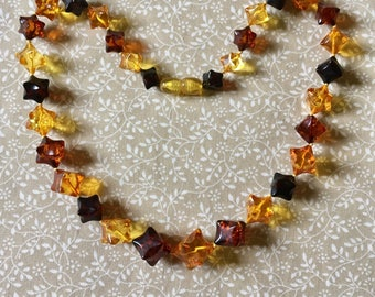 Vintage Baltic Amber Star Shaped Graduated Bead Necklace