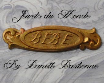 Vintage French Bébé Art Nouveau Raw Brass Stamping Bar Pin Barrette or Brooch Finding 1 Piece 436J