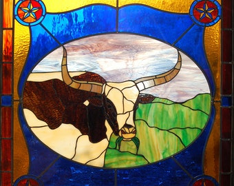 Beautiful Stained Glass Longhorns for sale