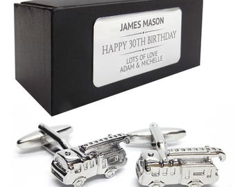 Fire engine, fireman CUFFLINKS 30th, 40th, 50th, 60th, 70th birthday gift, presentation box PERSONALISED ENGRAVED plate - 214