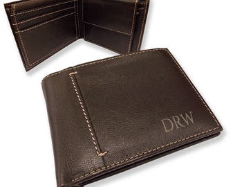 Personalised engraved mens LEATHER WALLET gift with coin purse, monogram monogrammed  initials - bifold personalized wallet - JOSL1