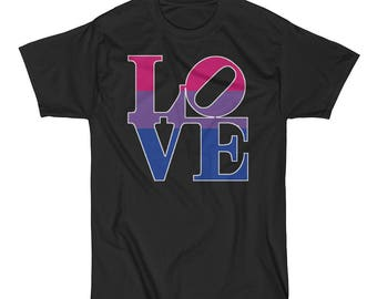 Bi Pride Love Statue Unisex Short Sleeve T-Shirt lgbt lgbtq lgbtqipa queer bisexual