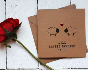 Santes Dwynwen card - Welsh card - dydd santes dwynwen hapus - Welsh love card - sheep - handmade card - recycled card
