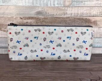 Pencil Case –Transportation Print Japanese Fabric Zipper Pouch Handmade Makeup Bag Cosmetics Case Boys Kids School Supplies Zippered Bag