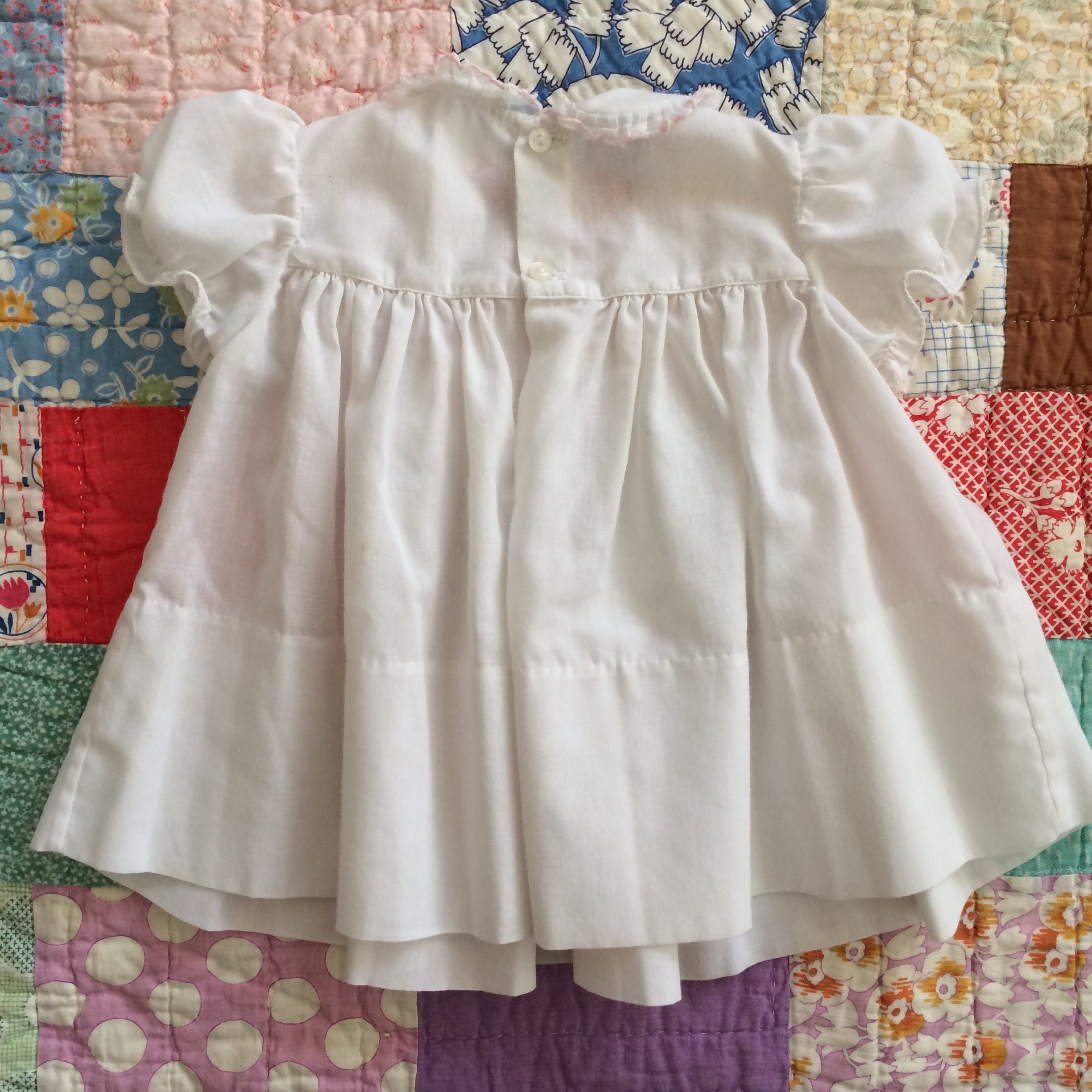Vintage Baby Girls Feltman Bros Brothers Dress White with Pink