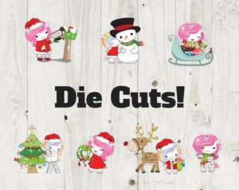 Die Cut Sticker Christmas Unicorn Die Cuts